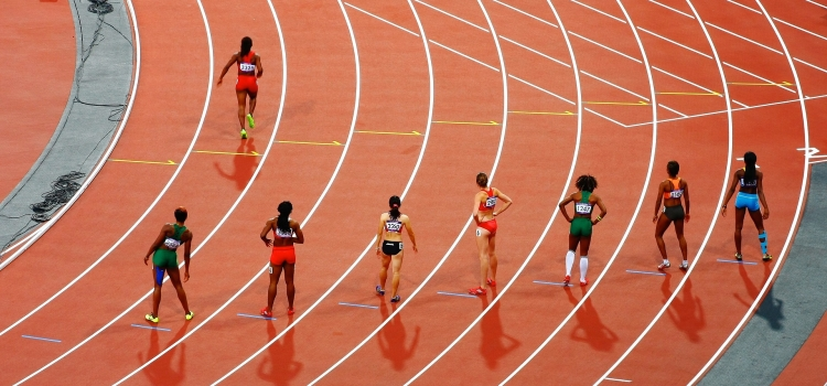 Runners lined up on a track