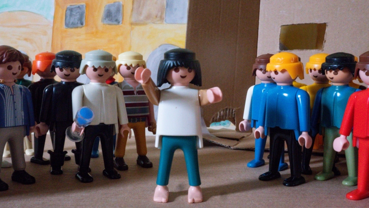 A Playmobil scene showing Peter preaching to the crowd at Pentecost