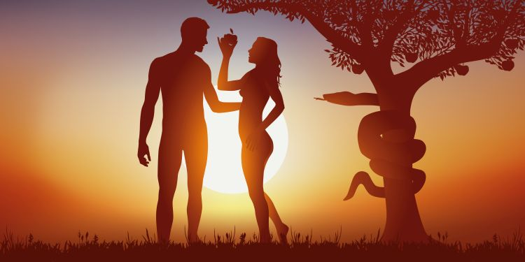 A silhouetted image of Adam and Eve holding an apple next to a tree with a serpent wrapped around the trunk
